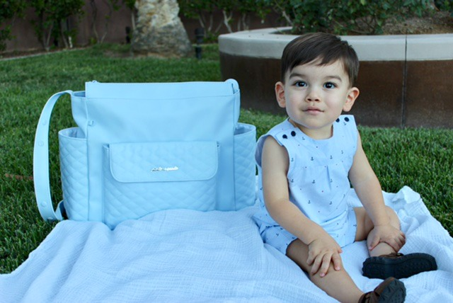 Ines blue eco- leather diaper bag from Luli Bebé.
