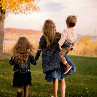 Three kids walking together