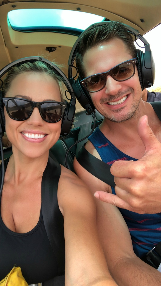 Jessica and Kyle in a helicopter