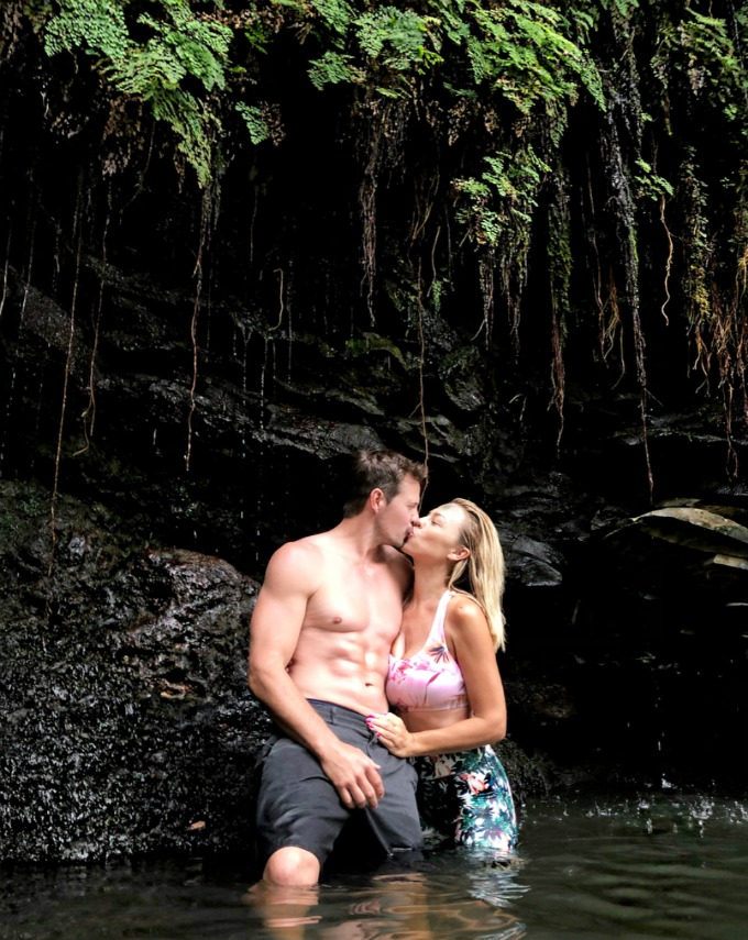 Jessica and Kyle at a waterfall