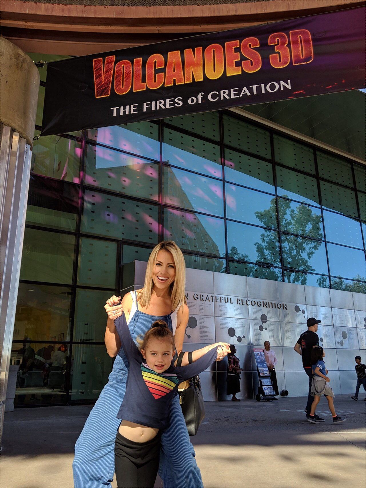 Jessica and Sophie at the Volcanoes 3D movie