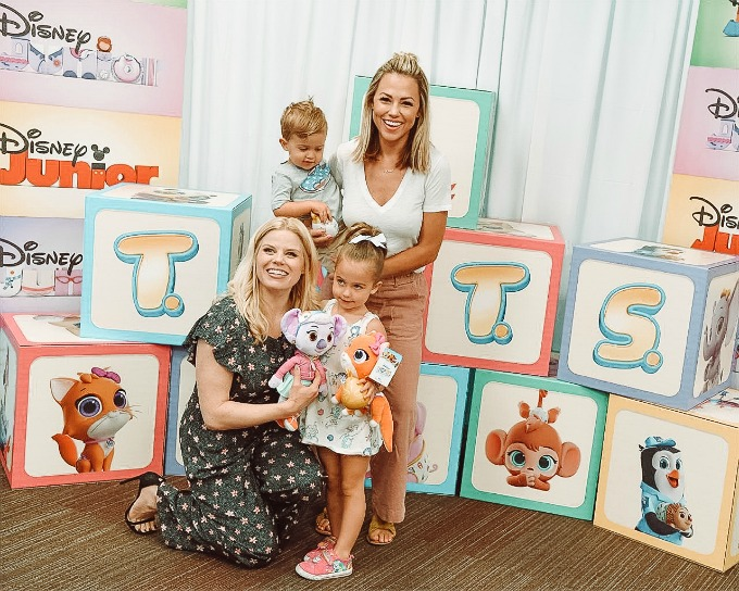 Jessica and kids in front of T.O.T.S. blocks