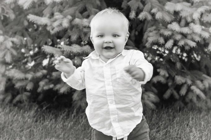 toddler boy in black and white