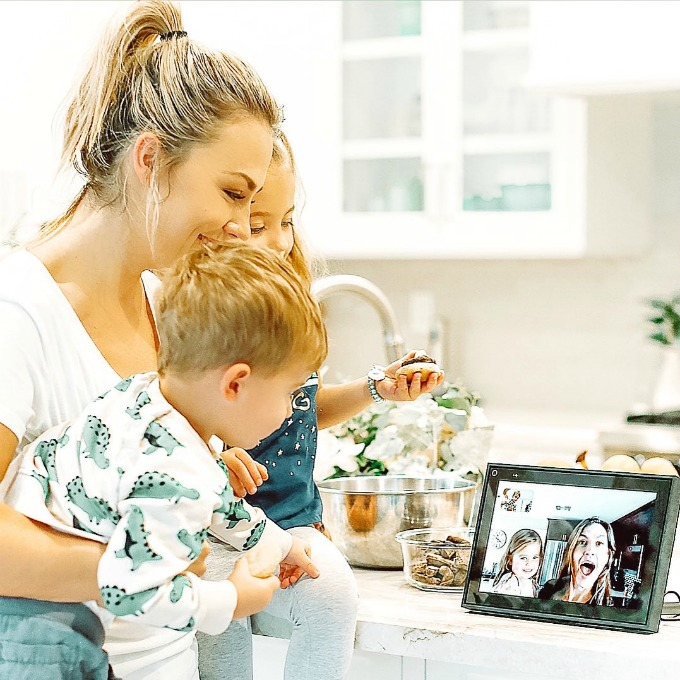Mom and kids using Portal from Facebook