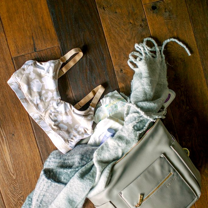 Diaper bag with blanket and ollie gray nursing bra