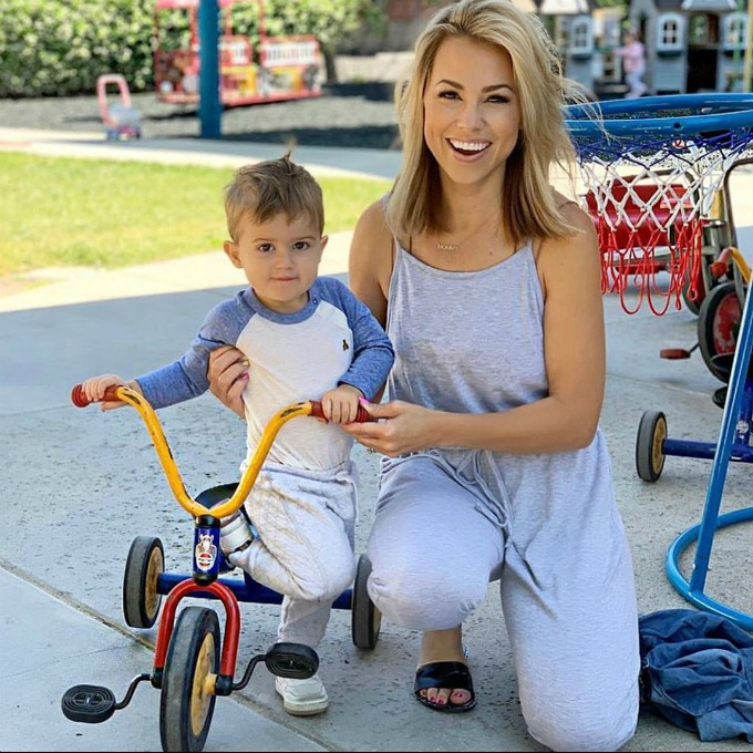 Jessica and Jake on a bike
