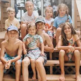 kids on the back porch