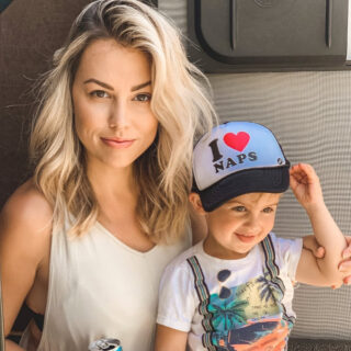 mom and son in I love naps hat