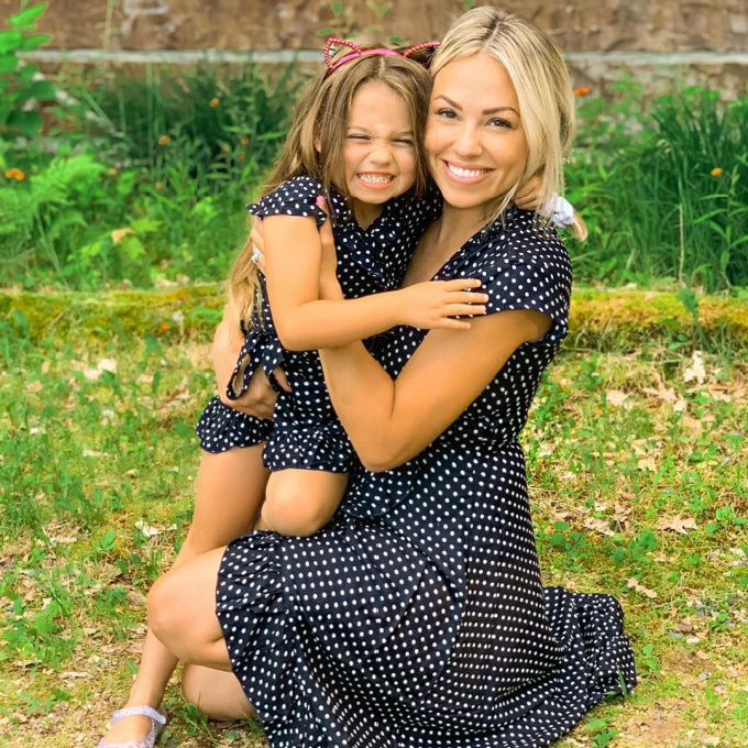 Mom and Daughter wearing matching polka dot dresses
