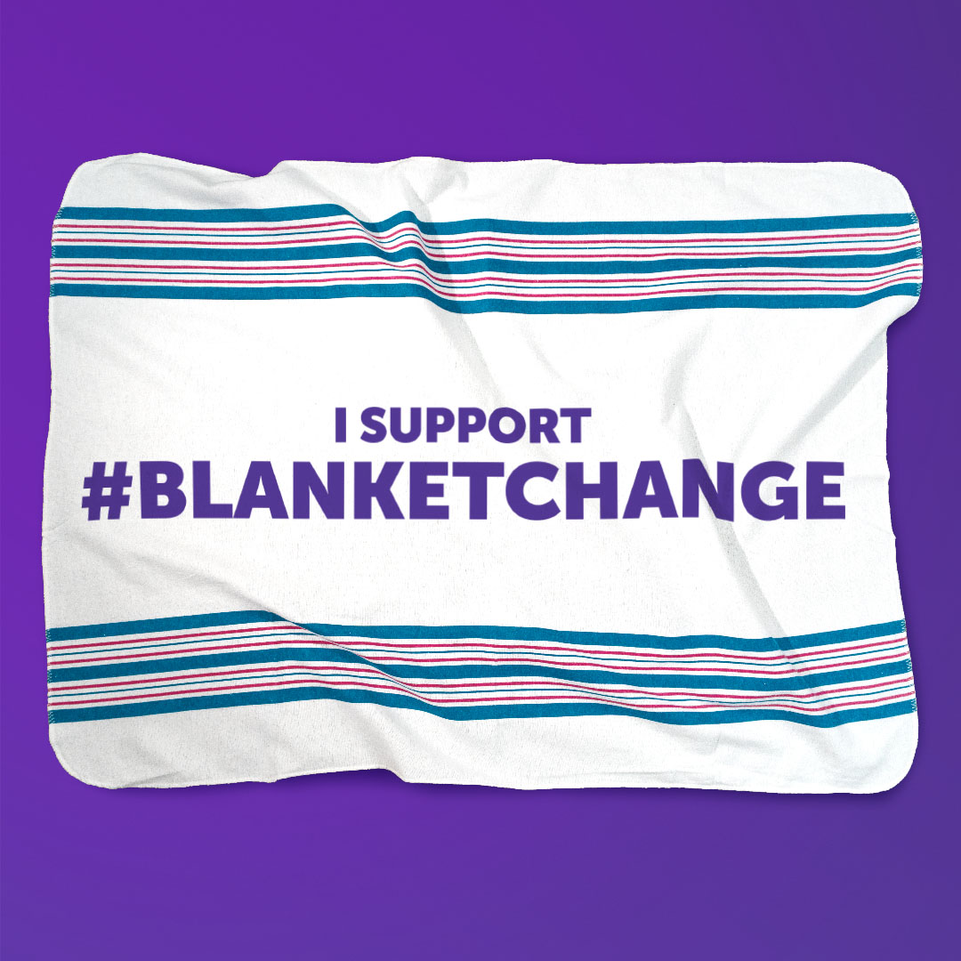 "Baby blanket on a purple background with text ""I support #BlanketChange"""
