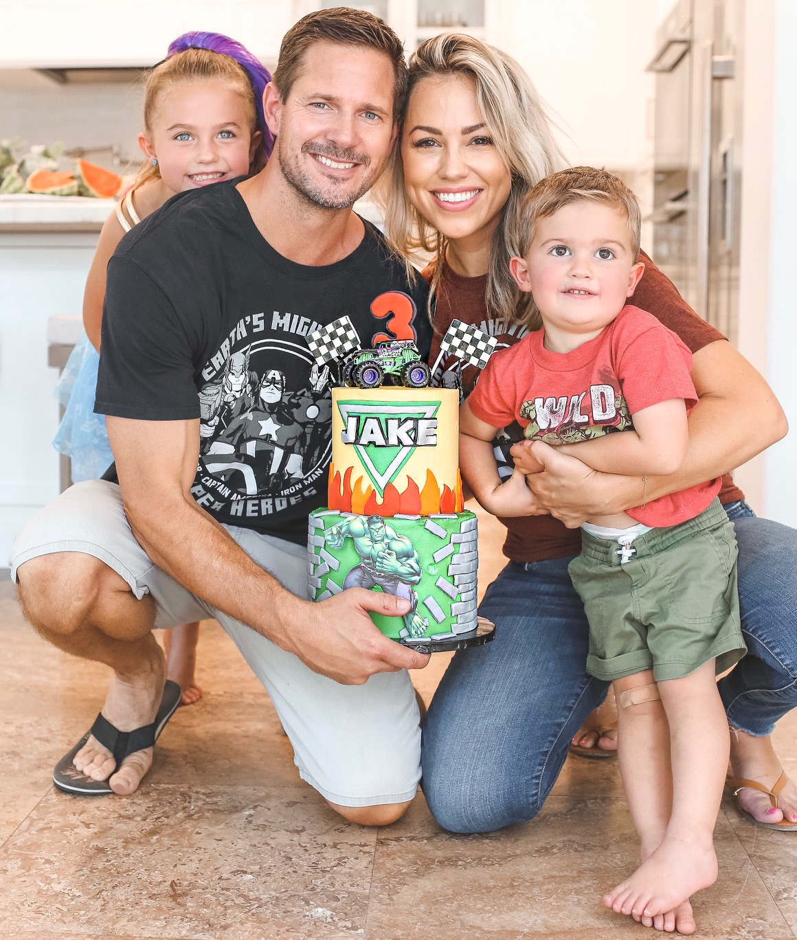 Jessica Hall and Kyle Carlson with daughter, Sophie, and son, Jake who turned three