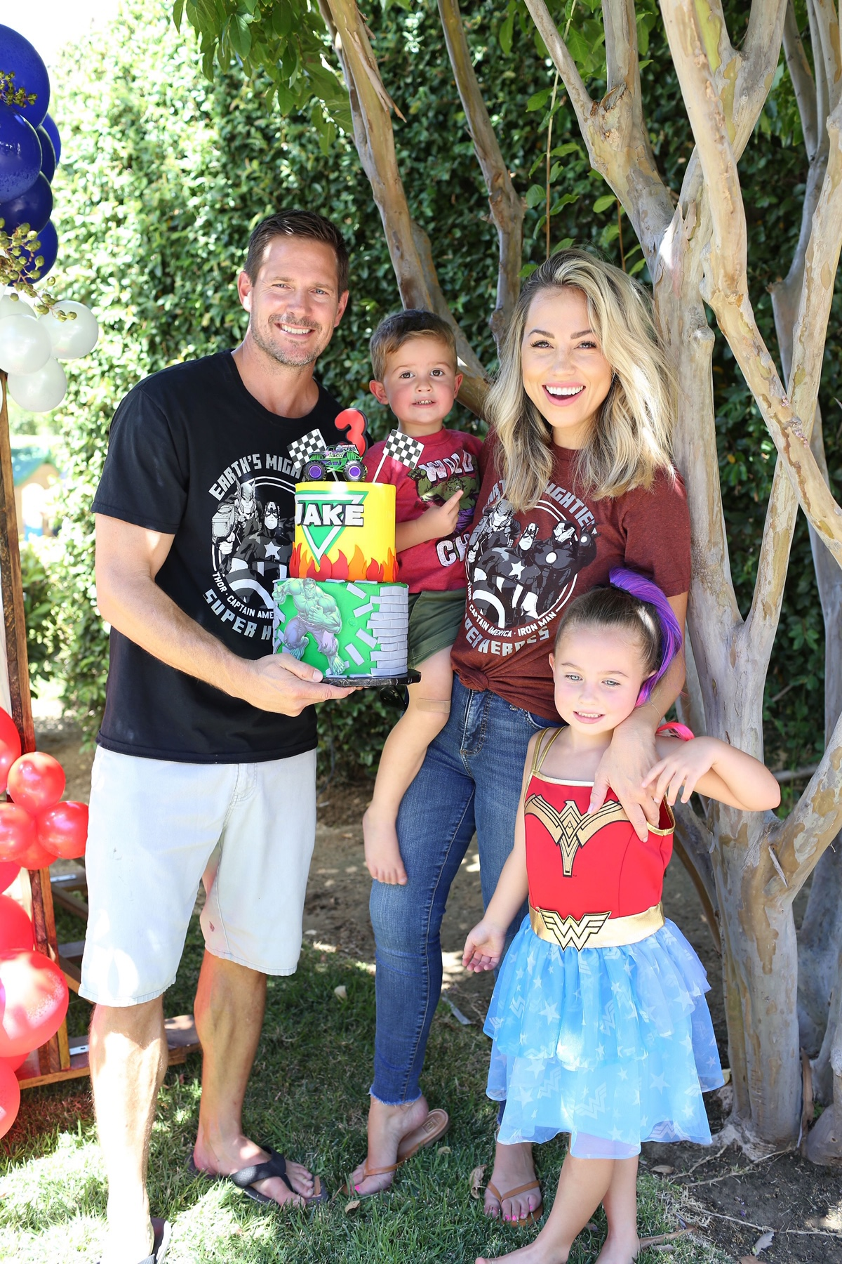 Jessica Hall and family for son's third birthday party