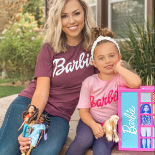 mom and daughter with Barbie Fashionistas dolls