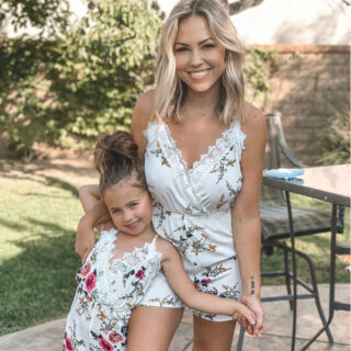 Mom and daughter in matching outfits.