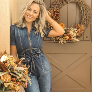 Jessica Hall with fall decor