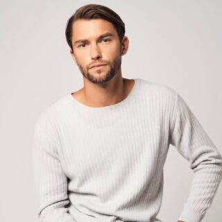 man wearing Bellamere cashmere sweater