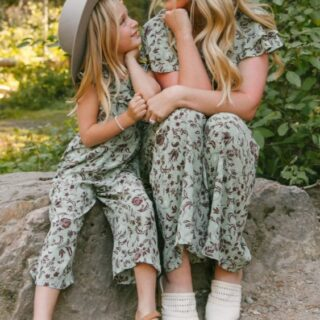 mom and daughter wearing matching Ivy City Co jumpsuits