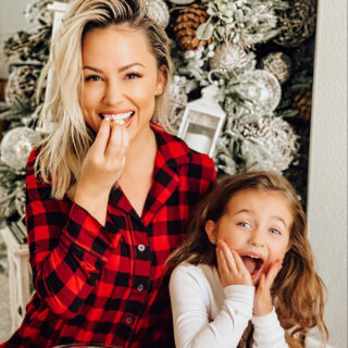 Jessica and Sophie looking surprised in Christmas pajamas