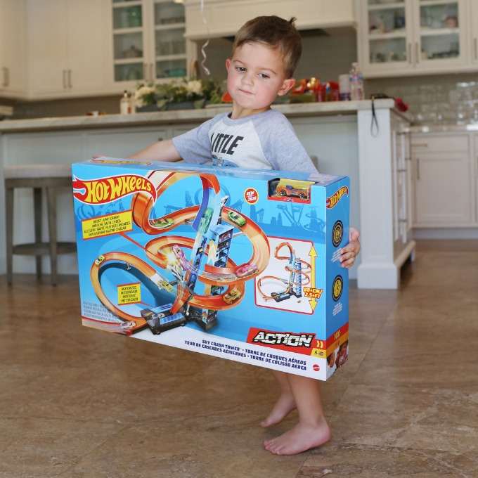 Jake holding Hot Wheels Track