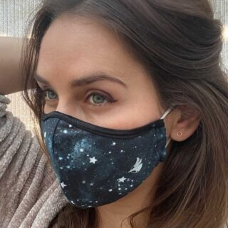 woman wearing face mask with stars