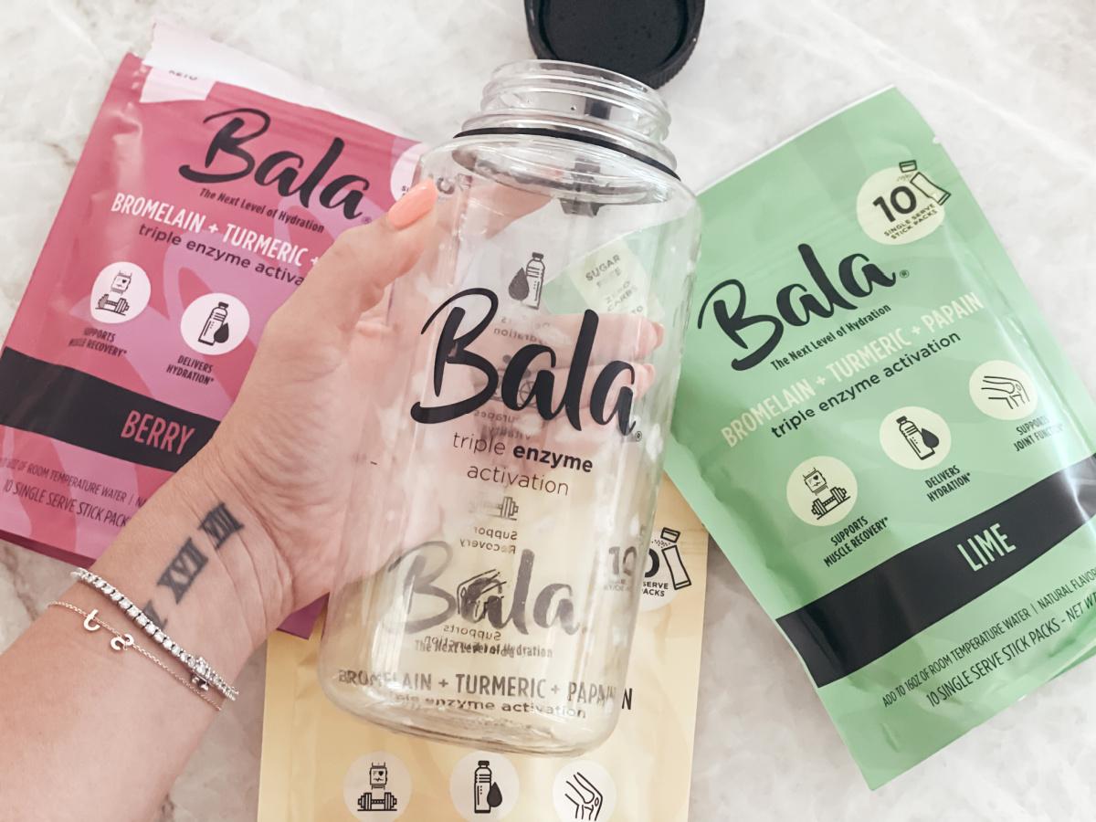 Bala enzymes wtih Bala water bottle.