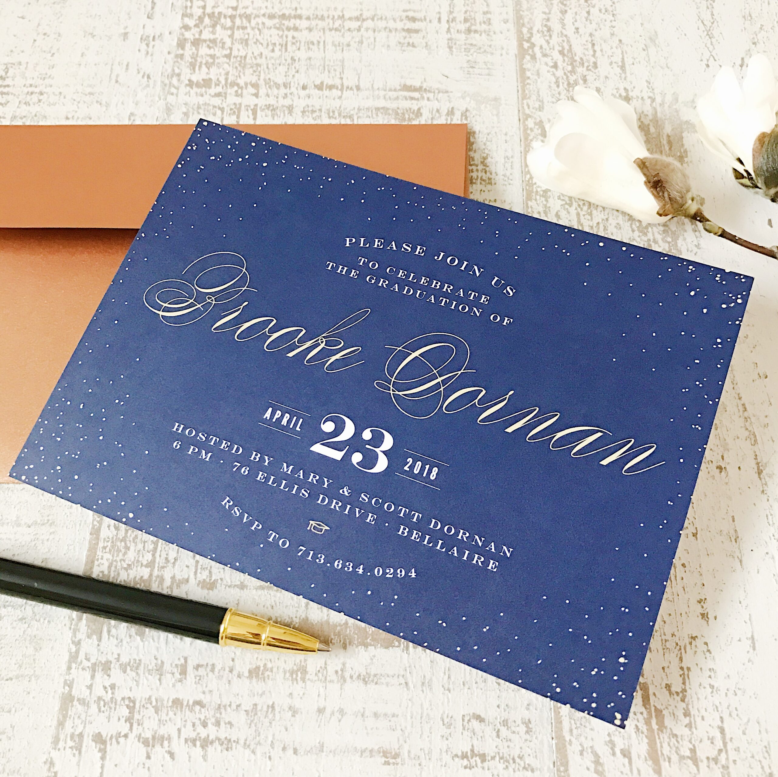Blue Graduation Invite with white words.