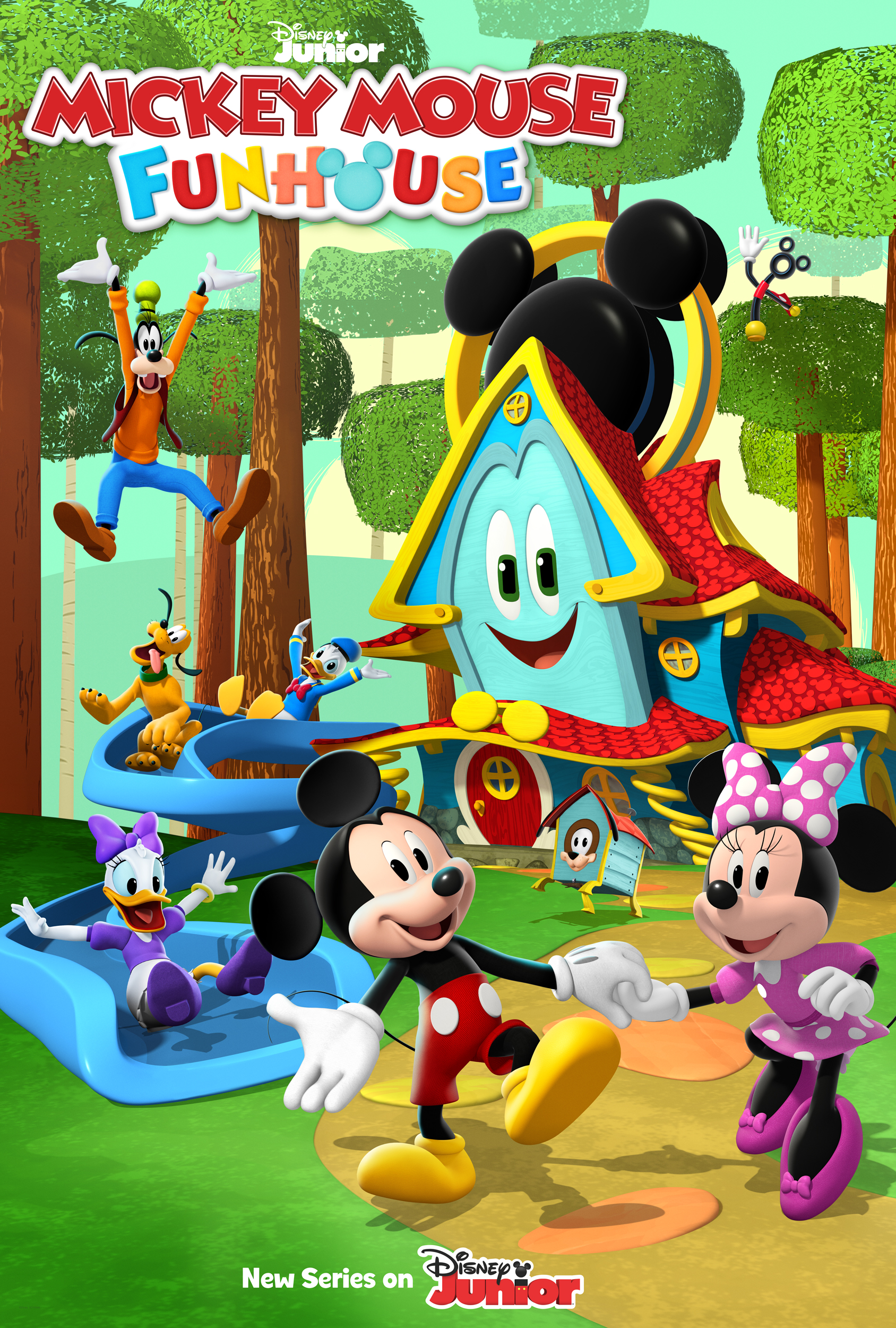 """Mickey Mouse Funhouse"""" is a whimsical animated series for preschoolers and their families featuring Disney's #1 star, Mickey Mouse, and his pals - Minnie, Donald, Daisy, Goofy and Pluto. Slated to debut in 2021, the series introduces Funny, an enchanted talking playhouse who leads the Sensational Six on imaginative adventures."""